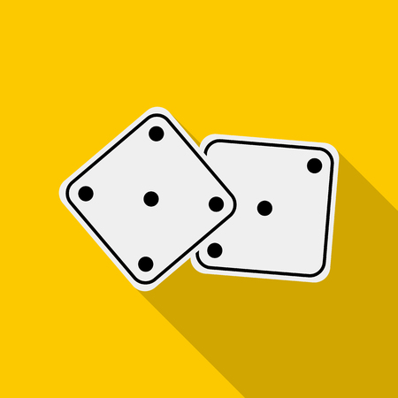 odds: White dices icon in flat style on a yellow background