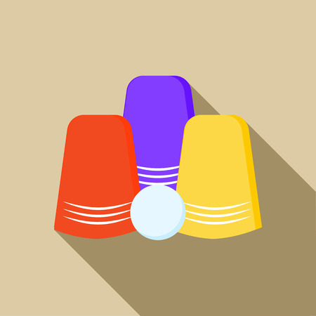 guess: Three game thimbles with a ball icon in flat style on a beige background