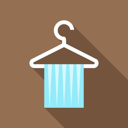 hanging dangling: Blue scarf on coat hanger icon in flat style on a brown background Illustration