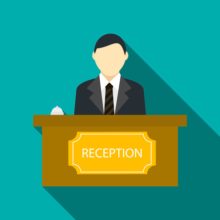 hotel reception: Male receptionist at hotel reception icon in flat style on a turquoise background