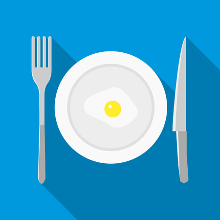 formal place setting: Plate with fried egg icon in flat style on a blue background Illustration