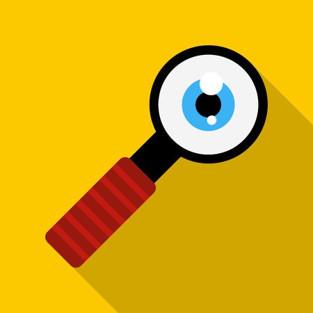 eye ball: Magnifying glass with eye ball icon in flat style on a yellow background