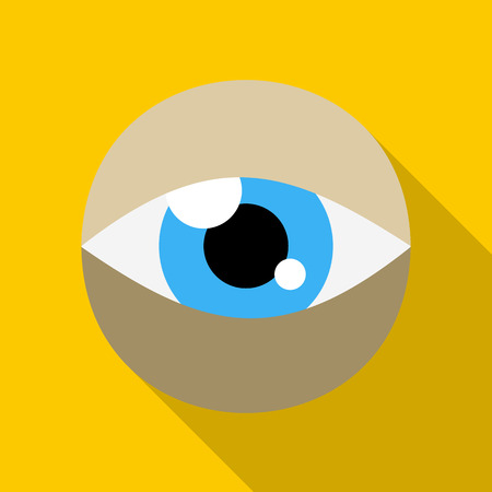 peephole: Blue eye icon in flat style on a yellow background Illustration