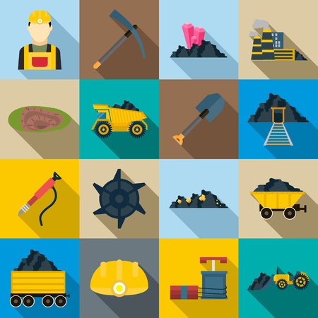 sifting: Mining Icons set in flat style for any design