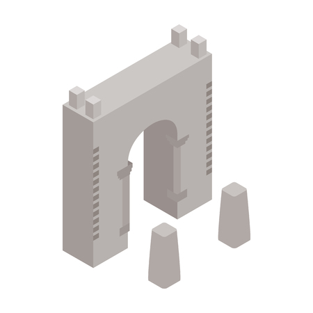 fort: Wall fortress icon in isometric 3d style isolated on white background. Landmark symbol Illustration