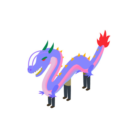 dancing dragon: Dancing dragon icon in isometric 3d style isolated on white background. Holiday symbol Illustration
