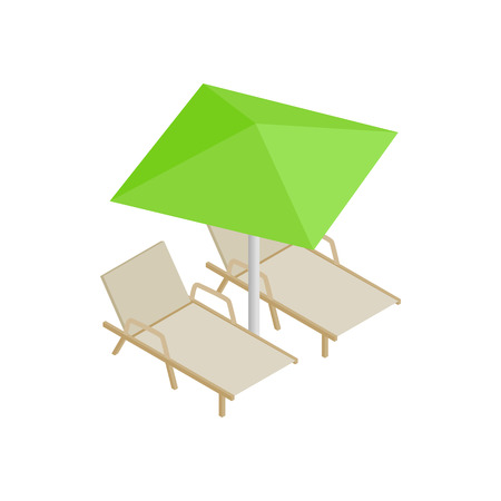 deckchair: Deckchair and parasol icon in isometric 3d style isolated on white background. Relax on the beach symbol