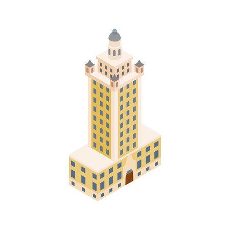 Freedom tower in Miami icon in isometric 3d style isolated on white background. Landmark symbol