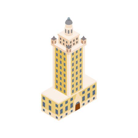 tour de liberté à Miami icône dans le style 3d isométrique isolé sur fond blanc. symbole Landmark
