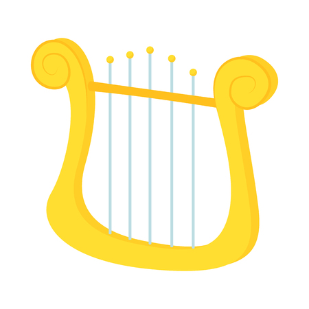 lyre: Lyre icon in cartoon style on a white background