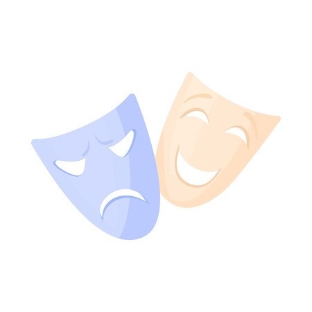 Comedy and tragedy theatrical masks icon in cartoon style on a white background Illustration