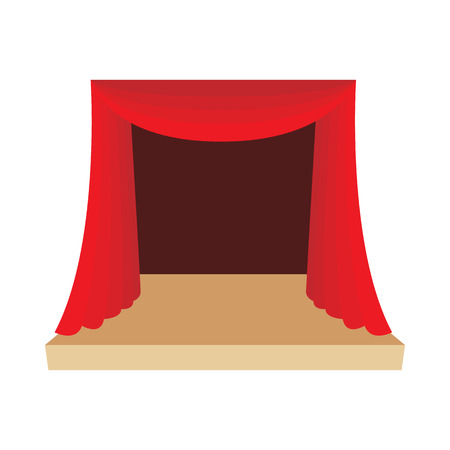 actor: Theater stage with a red curtain icon in cartoon style on a white background