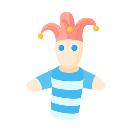 glove puppet: Jester doll icon in cartoon style on a white background