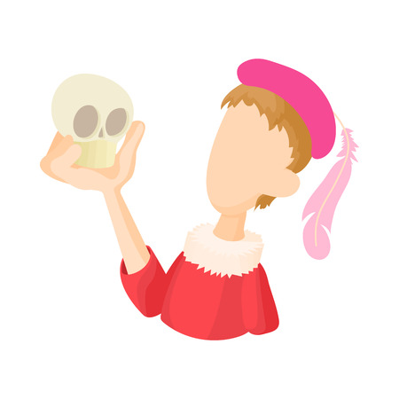 Hamlet actor icon in cartoon style on a white background Vectores
