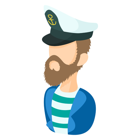cruise travel: Captain icon in cartoon style on a white background Illustration