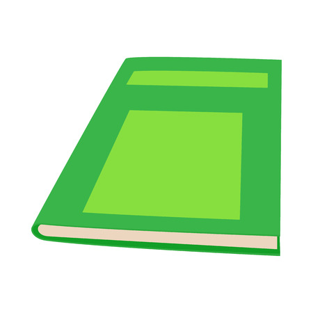 green book: Closed green book icon in cartoon style on a white background