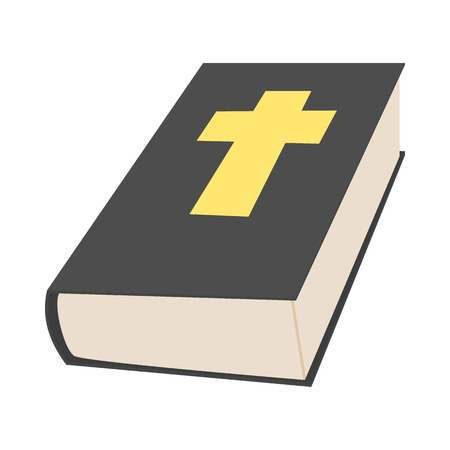 bible book: Bible book icon in cartoon style on a white background