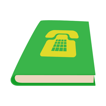 Green phone book icon in cartoon style on a white background Illustration