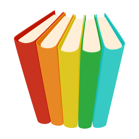 old diary: Stack of three colored books icon in cartoon style on a white background