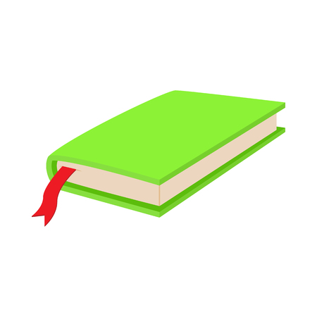 closed book: Green closed book with bookmark icon in cartoon style on a white background