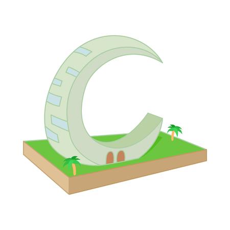 moon  metropolis: Crescent Moon Tower, Dubai icon in cartoon style on a white background