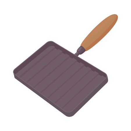 Grill pan with a wooden handle icon in cartoon style on a white background