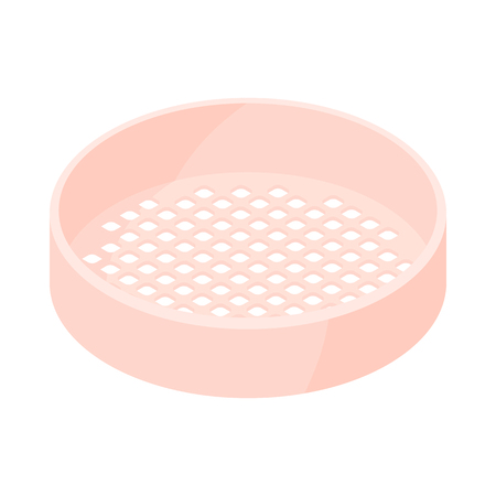 sifting: Wooden sieve icon in cartoon style on a white background Illustration