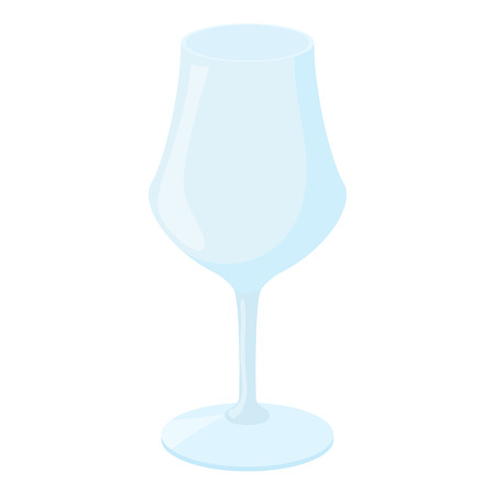 wine colour: Wine glass icon in cartoon style on a white background