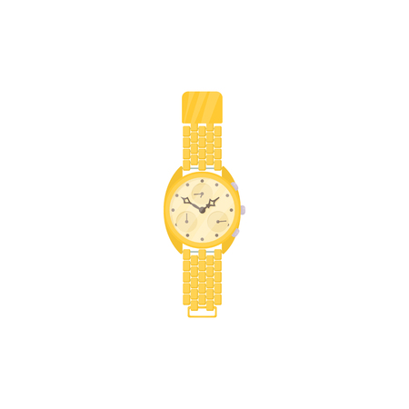chronograph: Yellow wrist watch icon in cartoon style on a white background