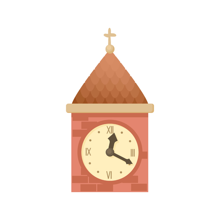 Vintage wooden clock icon in cartoon style on a white background