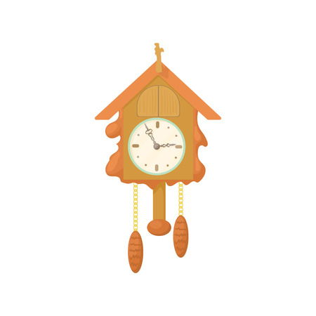 cuckoo clock: Vintage wooden cuckoo clock icon in cartoon style on a white background Illustration