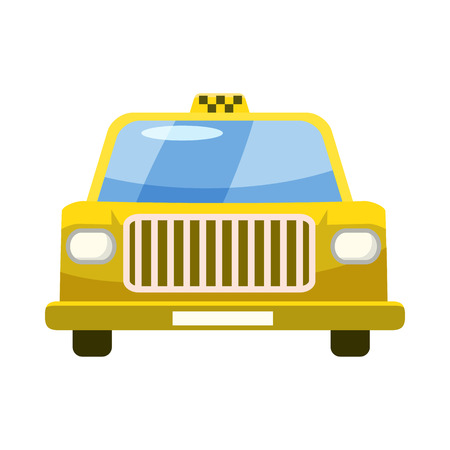 reflection of life: Taxi car icon in cartoon style on a white background