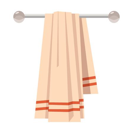 Czysty ręcznik na wieszak w stylu kreskówki na białym tle