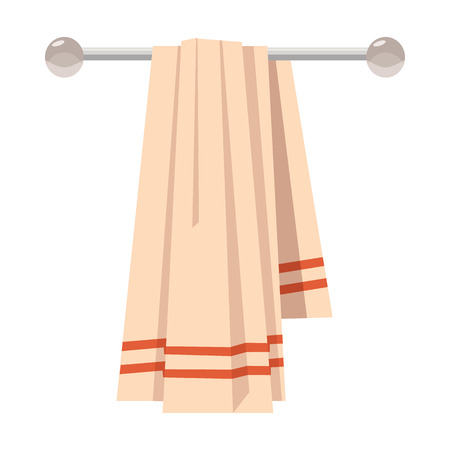 Clean towel on a hanger icon in cartoon style on a white background