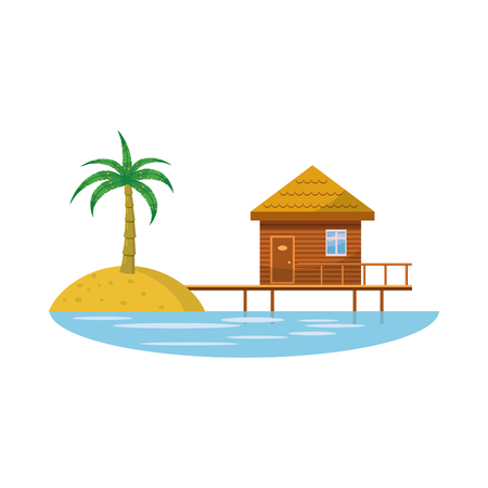 holiday villa: Hotel resort icon in cartoon style on a white background Illustration