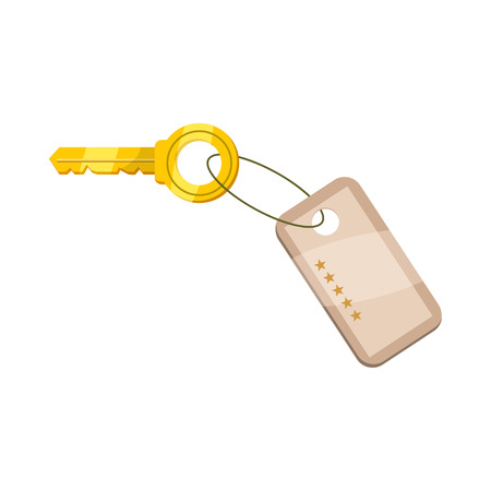 golden key: Hotel key icon in cartoon style on a white background