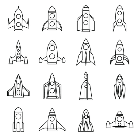 engine flame: Rocket icons set in outline style for any design Illustration