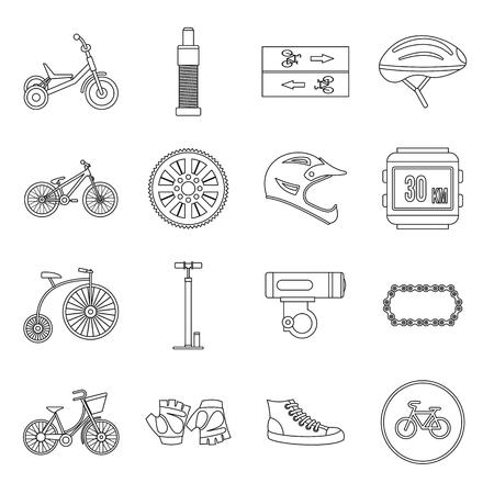short gloves: Biking icons set in outline style for any design Illustration