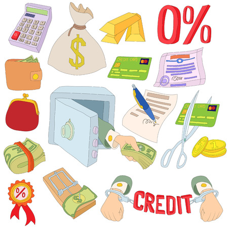 debt collection: Credit icons set in cartoon style isolated on white background Illustration