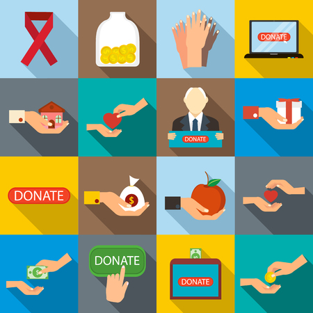philanthropist: Charity icons set in flat style for any design Illustration