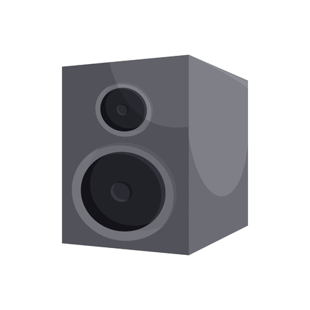 surround system: Black sound speaker icon in cartoon style on a white background Illustration