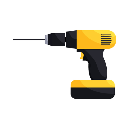 auger: Yellow hand drill icon in cartoon style on a white background Illustration