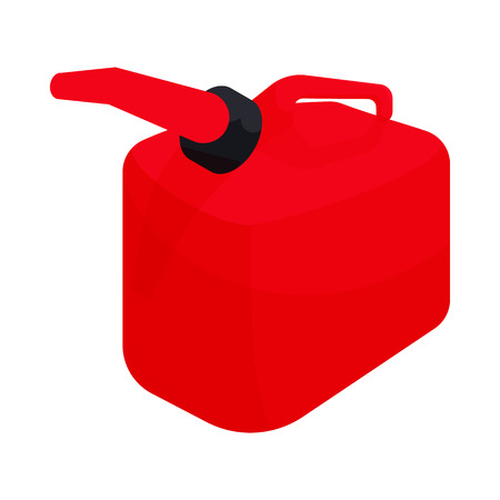 gas can: Red gas can icon in cartoon style on a white background