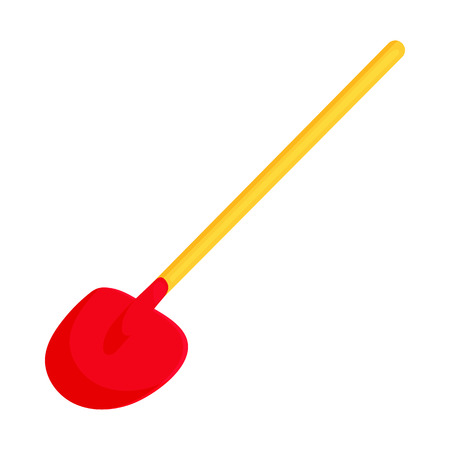Red shovel icon in cartoon style on a white background Illustration