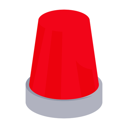 emergency light: Red flashing emergency light icon in cartoon style on a white background