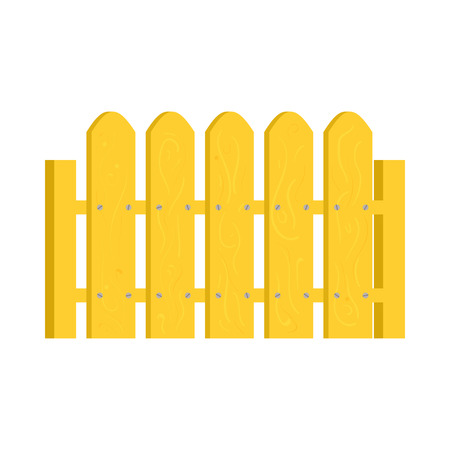 Yellow fence icon in cartoon style on a white background
