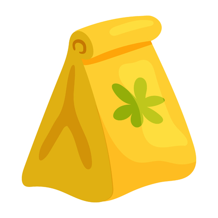 agricultura: Paper bag with seeds icon in cartoon style on a white background