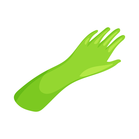 rubber gloves: Green rubber gloves icon in cartoon style on a white background