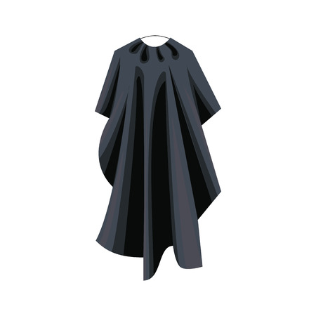 cut short: Black cape icon in cartoon style on a white background