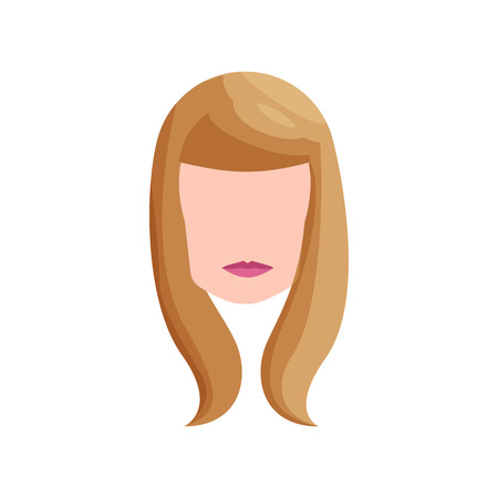 blond hair: Girl with long blond hair icon in cartoon style on a white background